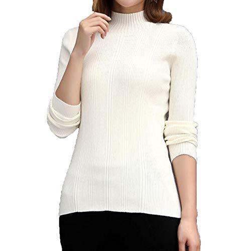 A In Maglione White Aderente Collo Tomaia Da Unita Tinta Con Alto Xyujie Maglioncino Elegante Donna Chunky YOq88w