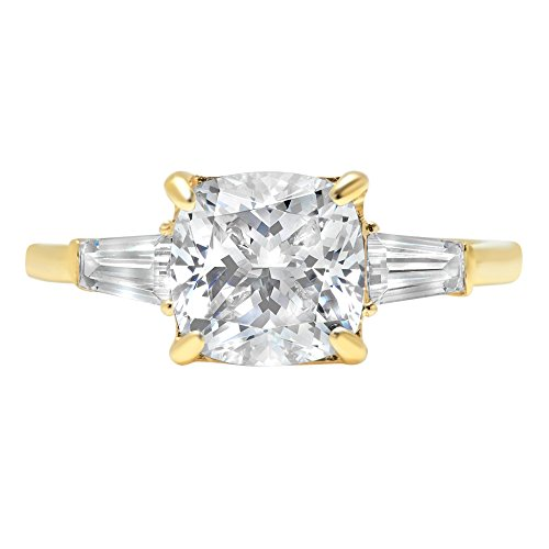 3.5ct Radiant Baguette 3-Stone Classic Solitaire Designer Wedding Bridal Statement Anniversary Statement Engagement Promise Ring 14k Yellow Gold, ()