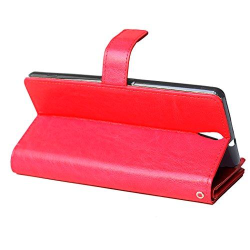 Sony Xperia C5 Funda, CaseFirst PU Leather Estuche Flip Cover Carcasa Ranura de Tarjeta Con Cierre Magnético Retráctil para Sony Xperia C5 (Blanco) Rojo
