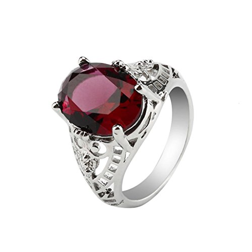 Challyhope Hot Sale! Fashion Wedding Ring For Women Oval Created Amethyst Sapphire Zircon Plated Silver Hallow Engagement Rings Jewelry (Red, 8)