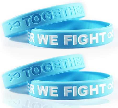 Cancer & Cause Awareness Bracelets with Saying Together We Fight, Gift for Patients, Survivors, Family and Friends, Sets of 2 & 4 Ribbon Silicone Rubber Wristbands