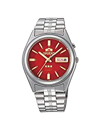 Orient Automatic Watch with Red Dial, Day-Date and SS Bracelet EM6Q00DH