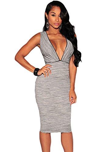 Damen Marl Grau Deep VNeck Kleid Club Wear Party Casual Größe UK 10 ...