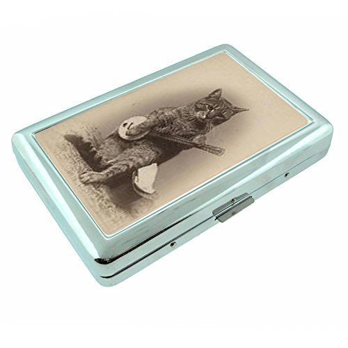 Perfection In Style Metal Silver Cigarette Case Vintage Cat Design 013 by Perfection In Style