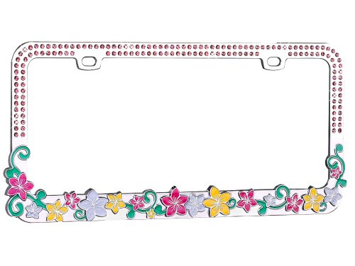 Valor Auto Companion LPF2MC016PNK Vibrant Hawaiian Flower Design Metal License Plate Frame with Pink ()