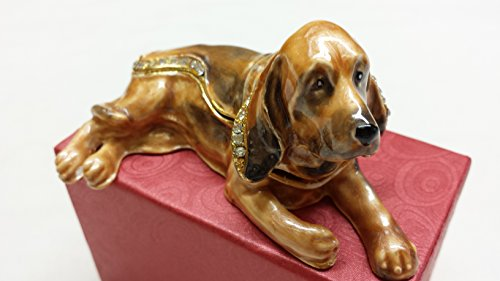 (Basset Hound Puppy Dog Trinket Box Jewelry Box with Inlaid Crystal Figurine)