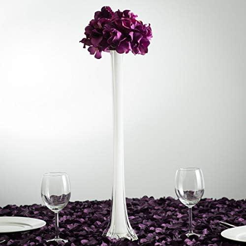 Tableclothsfactory 36 Eiffel Tower Wedding Glass Vases- 6 PCS-White