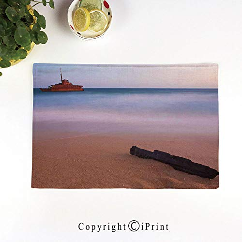 (LIFEDZYLJH Placemats Sets Washable Table Mats Cup Linen Mat Heat/Stain Resistant Mats for Dining Table,Shipwreck on Beach at Dusk in South Australian Lands by The Sea Shore Navy Nautical,Multi)