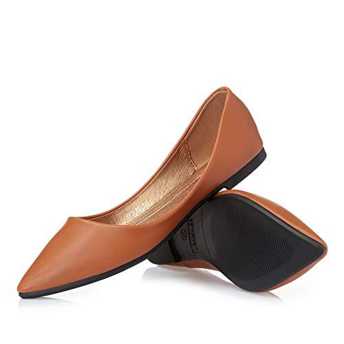 FLYRCX La Boca Baja señaló los Zapatos Planos Transpirables de la Parte Inferior Suave Zapatos de Trabajo de Oficina de Las señoras Zapatos Solos Zapatos de Las Mujeres Embarazadas brown