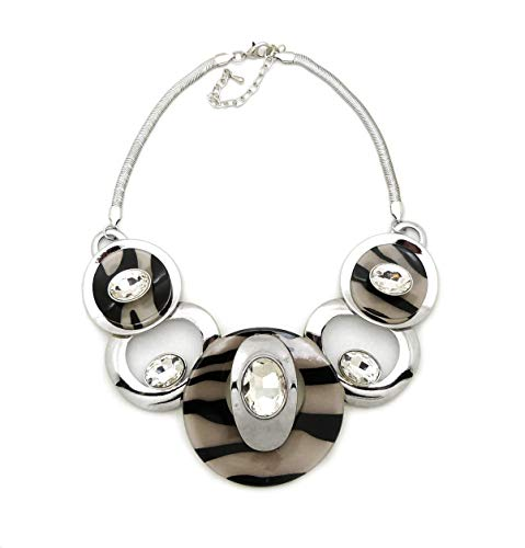 Fashion 21 Women's Celluloid Acetate Oval Disc Glass Stone Metal Link Statement 17