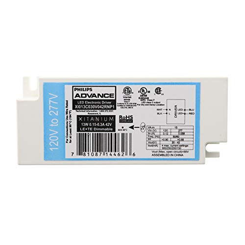 Advance XI013C030V042RNP1 Dimming LED Driver, Xitanium, LE+TE, 20-42-Vdc, 13W, 120/277V