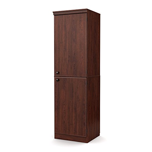 South Shore 2-Door Narrow Storage Cabinet Adjustable Shelves, Royal (American Cherry Door)