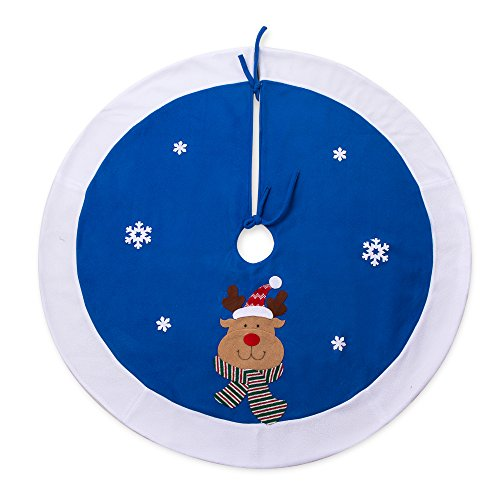 iPEGTOP 42'' Reindeer Christmas Tree Skirt - Holiday Christmas Decoration Snowflake - Blue and White Rim by iPEGTOP