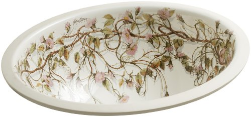 (KOHLER K-14218-BR-96 Briar Rose Design on Caxton Undercounter Bathroom Sink, Biscuit)