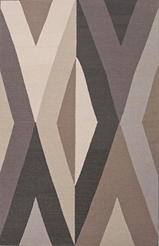Addison and Banks Flat-Weave Geometric Pattern Wool Area Rug, 5 by 8-Feet, Dark Ivory/Black Ink