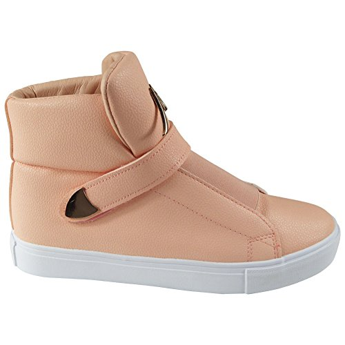 Womens Hi Top Sneakers Padded Tongue Trainers Ladies Plimsolls Ankle Boots Size 3-8 Pink Y9iSZBdBh