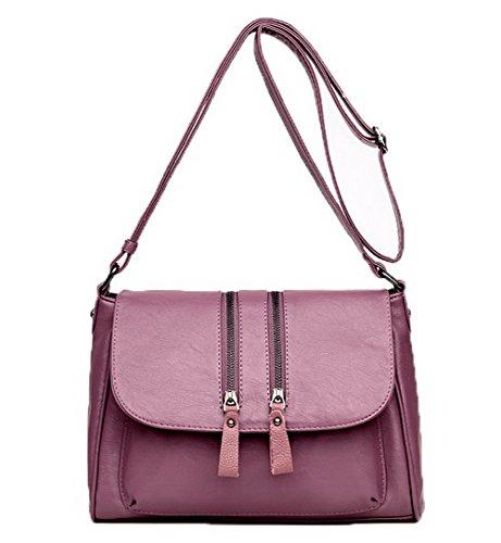 VogueZone009 Femme Achats Des sacs Zippers Pu Cuir Sacs à bandoulière,CCAFBP180873 Violet
