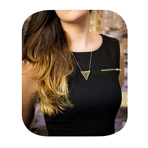 Dcfywl731 Fashion Three Triangle Arrow Long Chain Pendant Necklace for Women Metal Geometric Sweater Necklace Punk Jewelry (Gold Triangle)