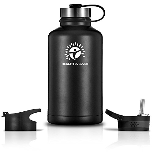 Drink Containers Stainless Steel (Stainless Steel Water Bottle/Thermos: ​64 Oz.​ Double Walled Vacuum Insulated Wide Mouth Travel Tumbler, Reusable BPA Free Twist Lid Bottles for Hot or Cold Liquid: Bonus Flip & Straw Lids - ​Black)