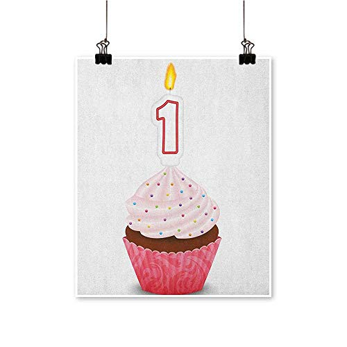 HouseDecor 1st Birthday,Art Wall Paintings Kitchen Cuisine Inspired Pastry Delicious Cupcake Party with Candle W20 xL28 Pictures for Bedroom