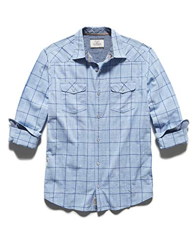 Pearl Vintage Shirts Snap - Flag & Anthem Men's Long Sleeve Double Pocket Plaid Western Snap Shirt, M, Boxford Blue