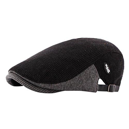 - Showking Men Winter Casual Duckbill Ivy Cap Golf Driving Flat Cabbie Newsboy Beret Hat (Black)