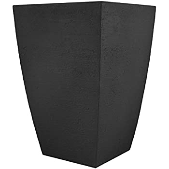 Tusco Products MSQT19BK Modern Square Garden Planter, 19-Inches Tall, Black