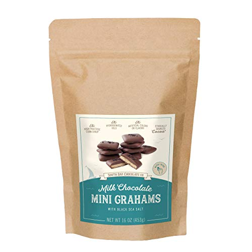 South Bay Chocolate Co. 1 LB Milk Chocolate Mini Graham Crackers with Sea Salt, 16 Ounce