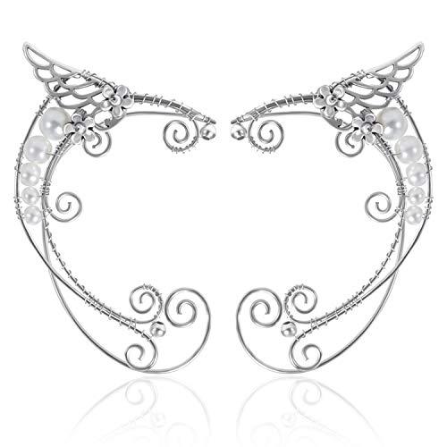 OwMell 1 Pair Elven Ear Cuffs Filigree Cosplay Fairy Elf Ear Cuffs Fantasy Costume -