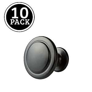 Flat Black Kitchen Cabinet Knobs - 1 1/4 Inch Round Drawer Handles