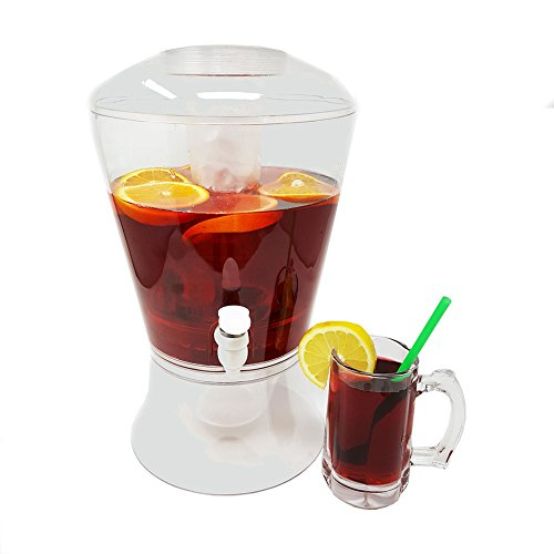 Large 2 Gallon Beverage Dispenser on Stand w/ Spout Ice Base and Core Keep Juice and Drinks Cold Shatterproof Acrylic Jug w/ Fruit and Tea Infuser and Spigot Perfect for Parties (Stand Dispenser With Plastic Beverage)