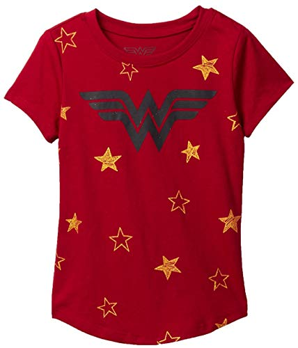 DC Comics Girls T-Shirt Wonder Woman Stars Print (Dark Red, Small - 6/6X)