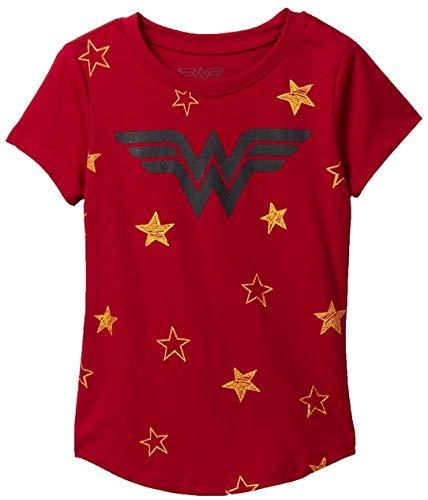 DC Comics Girls T-Shirt Wonder Woman Stars Print (Dark Red, Medium - 7/8) ()