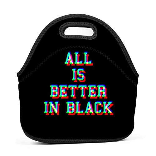 Lunch Bag Food Box Portable Carry Storage Tote Picnic Handbag for School Work Office Print All is Better in Black