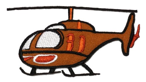 Helicopter Patch - Brown Helicopter DIY Applique Embroidered Sew Iron on Patch HCT-002