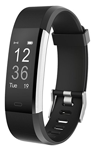 Fitness Tracker, AIEX Heart Rate Monitor Smart Watch With Connected GPS Tracker, 14 Sports Mode, Message Notification,Waterproof Activity Tracker for Android and iOS with Gift Screen Protector (Black)
