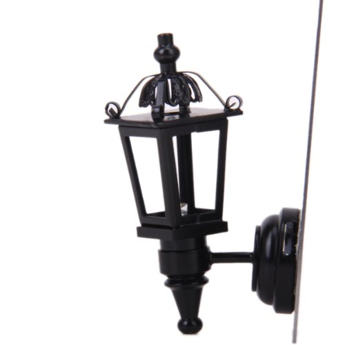 Jili Online 1/12Scale Dollhouse Miniature Vintage LED Wall Lamp with Battery Black Metal