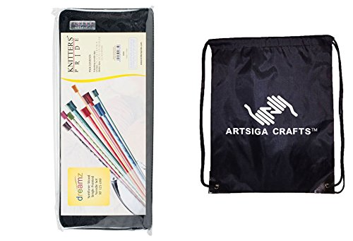 Knitter's Pride Dreamz Single Pointed 10'' (25cm) Knitting Needle Set; 2 Knitting Needles of 9 Sizes with 1 Artsiga Crafts Project Bag 200606 by Artsiga Crafts Knitter's Pride