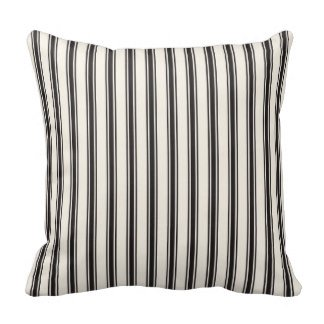 HFC Case Decorative Cotton Classic Ticking Stripe Pattern Black And Cream Pillow 18