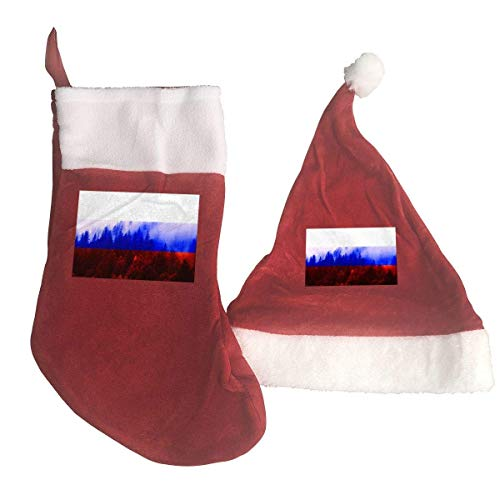 Russia Flag with Forest Santa Hat & Christmas Stocking Holiday Christmas Decorations Party Accessory