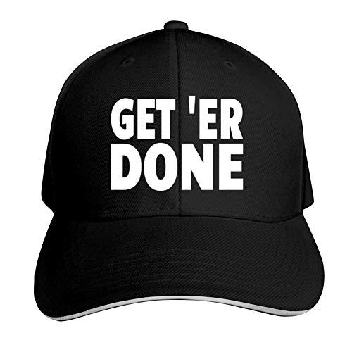 Get Er Done Adjustable Baseball Cap, Old Sandwich Cap, Pointed Dad Cap Black