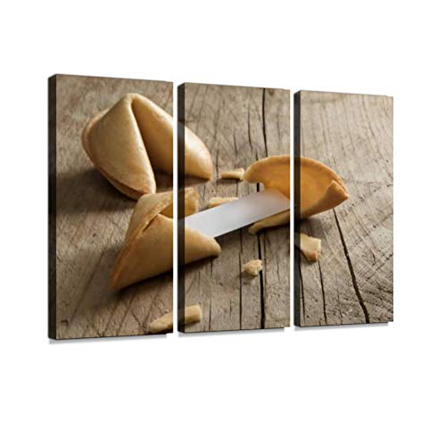 Chinese Fortune Cookies with a Blank Paper Slip on a Wooden Table. Print On Canvas Wall Artwork Modern Photography Home Decor Unique Pattern Stretched and Framed 3 Piece