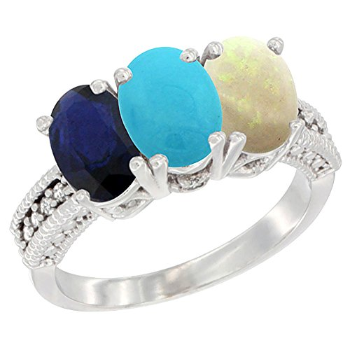 14K White Gold Diamond Natural Blue Sapphire, Turquoise & Opal Ring 3-Stone 7x5 mm Oval, size 10