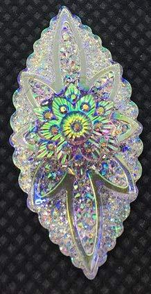 Calvas Big Sizes Resin Stone Cabochon Flower Crystal AB Color 30pcs Flat Back Drop,Navette,Oval,Round,Heart Shape - (Color: 20x40 Navette 30pcs)
