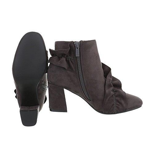 Schuhcity24 Damen Schuhe Stiefeletten Boots Grau