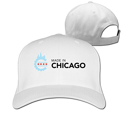 [Elnory Made In Chicago Funny Duck Tip Cap White] (Wood Boo Sign)