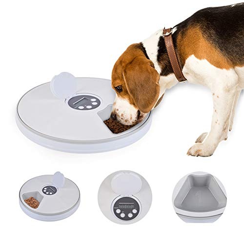 LAYOPO Pet Feeder 6-Meal Automatic Pet Feeder, Timed Pet Feeder for Cats Dogs and Rabbits, Dry Or Semi-Moist Puppy/Kitten/Bunny Food Dispenser