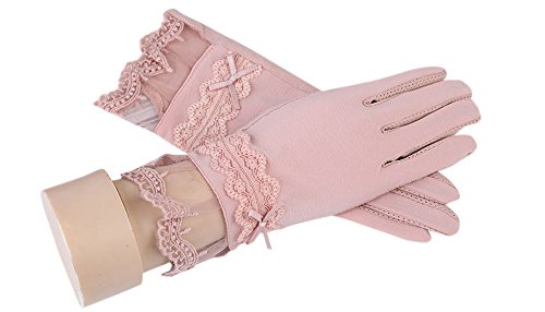 formanism シンプル レースリボン キレイめ UV 日焼け防止 紫外線カット サマー手袋 レディース (ピンク)