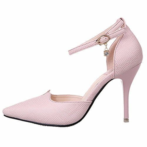 Frauen flacher Mund fein mit Stilett Absatzschuhe zeigten Sandalen Schuhe Pink