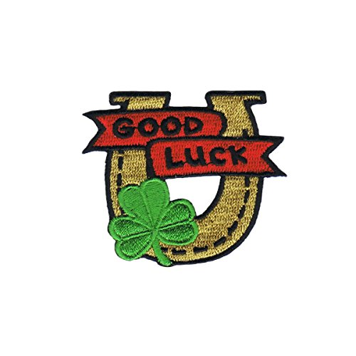 - Good Luck Horseshoe Patch Shamrock Charm Embroidered Iron On Applique